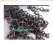 SALE Vintage Style Aged brown patina metal rustic chain