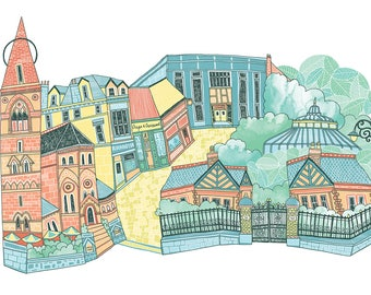 Glasgow Byres Road Illustration Print