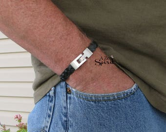 Mens Black Leather Bracelet, Gift for him, Braided Leather Jewelry, Mens Jewelry, Mens Bracelet
