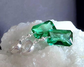 New! Emerald Cut Green Amethyst Large Gemstone Drop Earrings on Bold Sterling Silver Hoops Gift for Her