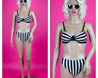Vintage 1990s Black and White Stripe High Waist Bikini