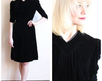 1930s Dress // Black Silk Velvet Dress // vintage late 30s dress