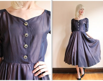 1950s Dress // Doris Fein Silk Party Dress // vintage 50s dress