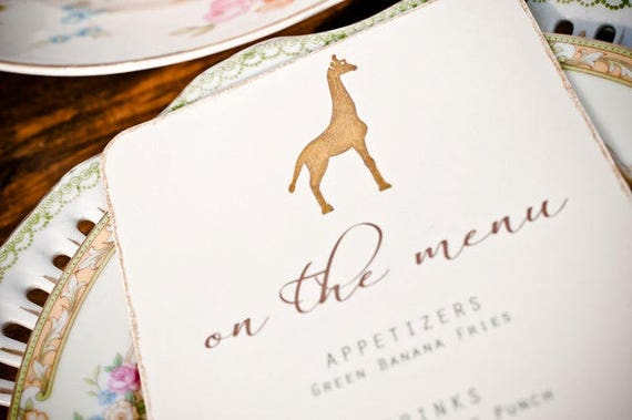 Safari Printable Menu Vintage Desert Wedding Menu African Giraffe