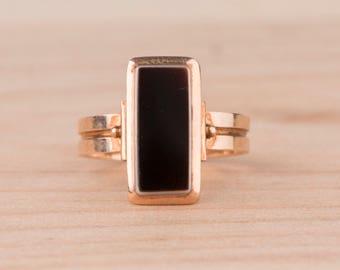 Layaway Payment #2 of 3 for F---Black Sardonyx Signet Rectangular 14k Rose Gold Ring