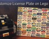 Mini Customize License Plate on Lego 1x2 Tile