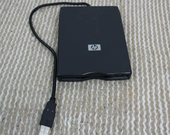 "Vintage HP USB External Disk Drive for 3.5"" Old Style Floppy Disc"