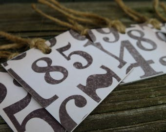 old fashioned number gift tags - recycled paper - set of six - fun gift tags