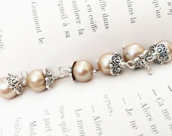 Tan Pearl and Pewter Baubles Instant Earrings Relic Charm