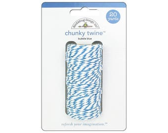 BUBBLE BLUE Chunky Baker's Twine - Cotton Twine - 20 yards - Favor Packaging - Doodlebug - Invitation supply