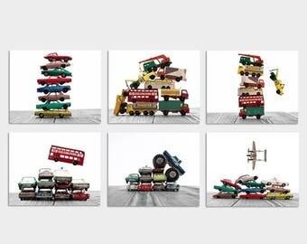 FLASH SALE til MIDNIGHT Set of Six Stacked Matchbox Car Prints, Nursery Decor, Rustic Decor , Boys Wall Art, Car Prints, Boys truck Room