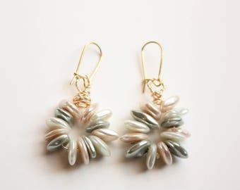 Pebble Earrings, Summer Earrings, Nautical Earrings, Handmade, Wire Wrapped, Pebble Beads, Ready to Ship