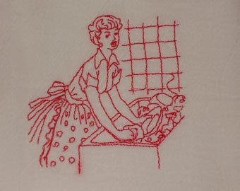 Retro Ladies Flour Sack Towels, Kitchen Dish Tea Cup towels, Embroidered Red Work, ON SALE