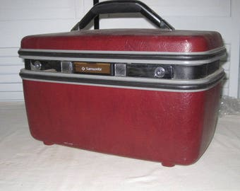 vintage Burgundy Wine Red Samsonite Silhouette Train Case