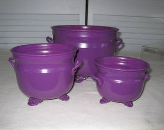 vintage Royal Plum Storage Containers - set of 3 containers