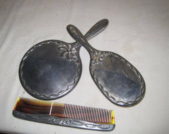 vintage Silverplate Hand Mirror - Hairbrush - Comb set in Ribbon and Bows Pattern