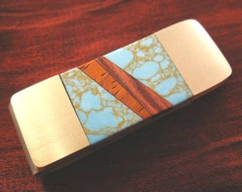 Man Gift Money Clip Mens Anniversary Gift Wood Turquoise Money Clip Gift for Man Anniversary Gift Idea MC416