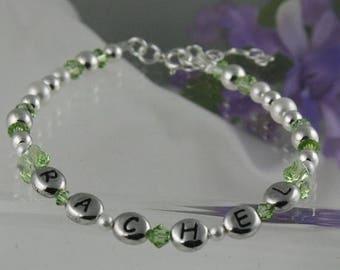 ON SALE Birthstone Sterling Silver Personalized Keepsake Bracelet for Little Girls