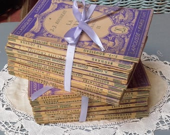 Bundle Vintage French Books 1940s Slender Lilac Volumes French Classic Authors