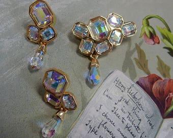 Swan Signed SWAROVSKI Aurora Borealis Crystal Brooch and Earrings set   OCA48