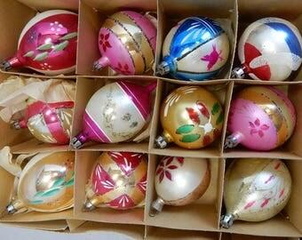 12 Vintage Mercury Glass Fancy POLAND Christmas Tree Ornaments in Original Box   OAZ28