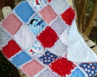 Baby Rag Quilt Baby Boy Quilt Red White and Blue Nautical Baby Crib Quilt Nursery Bedding Sailboats Whales Dolphins Ready to Ship
