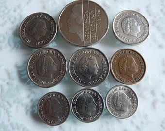 Lot of 9 NETHERLANDS Coins ~ Nine Vintage Cents 1950s 1970s 1990s Crown Design Queen Juliana and Beatrix