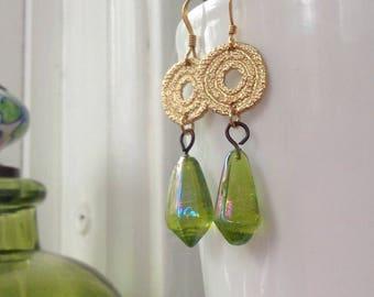 Glamour IT Girl Edie Sedgwick inspired retro inspired boho chic vintage glass dangle funky earrings