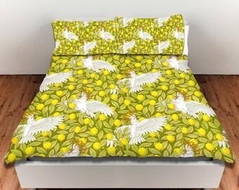 Duvet Cover, King Duvet Cover, Queen Duvet Cover, Cockatoos and Lemons, Bedroom Decor, Art Nouveau, Birds, Yellow, Green, Parrots