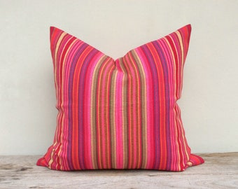 """26"""" Sq Same Fabric Both Side Pink Strips Ethnic Handwoven Pillow Case Pieces Of Tribal Costume eco friendly"""