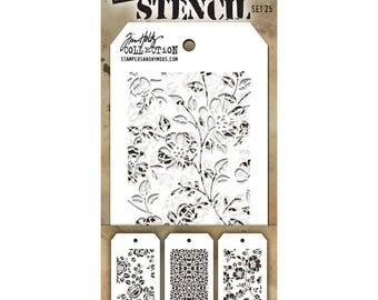 Tim Holtz Mini Stencil Set #25 - Stampers Anonymous Set of 3 mini stencils - Mixed Media Texture Stencils