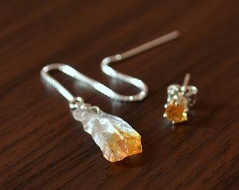 Raw Citrine Earrings for Teens, Sterling Silver, Threader Earring, Stud Earring, Real Gemstone, Yellow Stone, November Birthstone Jewelry