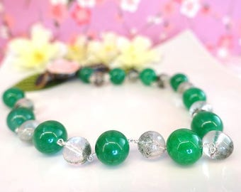 Green jade and moss green crystal statement sterling silver necklace, chunky Chinese green jade silver necklace