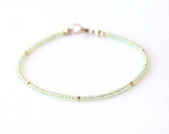 Delicate Light Green Peridot Bracelet with Tiny Dot Beads / Sterling Silver / 14K Gold Filled / Rose Gold / Layering Stackable Bracelet