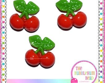 17mm KAWAII RED CHERRY Flatback Cabochon, Flatback Resin, Decoden, Phone Decor, Japanese Cabochon, Scrapbook, Embellishment, Bubblegum Bead
