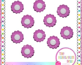 15mm PURPLE & WHITE FLOWER Kawaii Button, Sewing Notions, Buttons, Flower Button, Shank Buttons, Whimsical Buttons, The Bubblegum Bead Co.