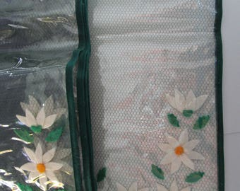Vintage Handmade Clear Plastic Place Mats with Felt Daisies Set of 8