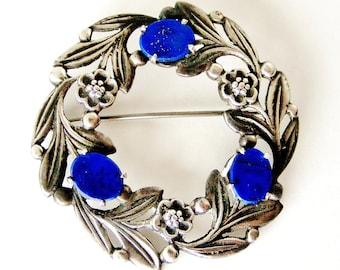 Signed Bernard Instone brooch in Sterling silver and lapis lazuli