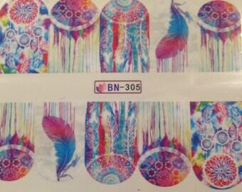 Watercolor Dreamcatcher Nail Wraps