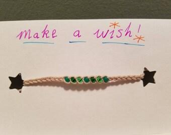 Custom Green Combo Hemp Braided Bead Woven Wish Anklet Bracelet