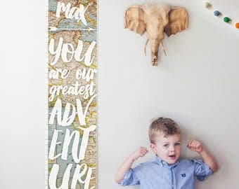 Custom/ Personalized You Are Our Greatest Adventure growth chart with vintage map background - gender neutral nursery decor / baby shower