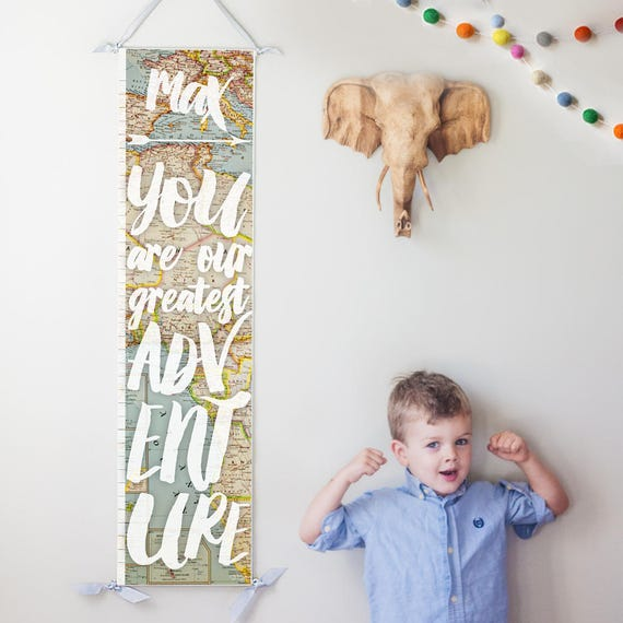 "Personalized ""You Are Our Greatest Adventure"" growth chart with vintage map background"