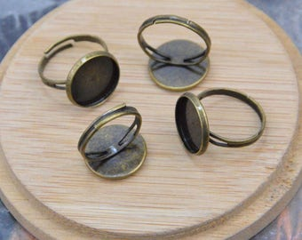 50 finger rings, antique bronze metal rings, adjustable rings, round blanks rings, bezel tray rings, Cabochon tray rings for jewelry 14mm