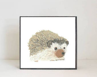 woodland nursery art- hedgehog art print- forest animals- nursery woodland art- animal print- nursery forest - decor- redtilestudio