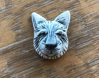 Dog, Cabochon, Porcelain, Dog Head, Cab, Carved, Clay, Handmade, Jewelry Supply, Underglaze