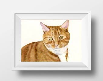 Custom Pet Portrait Painted from your Photos- Original Watercolor Painting by C.Raven -A4, 8.3x11.7in