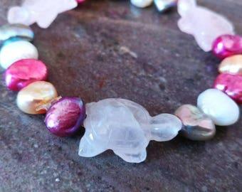 Rose Quartz Sea Turtles and Pearl