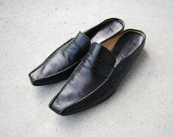 Vintage SALE - Vintage Black Leather Dressy Mule - Bruno Magli Slip on Loafer Flats - Unisex Style