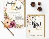 RESERVED FOR Bhrandi - Watercolor Botanical Wedding Invitations, 5x7, Wedding invitations, wc0001