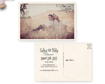 "Save the Date Postcard, 4x6, Save the Date, the ""Caitlyn"""